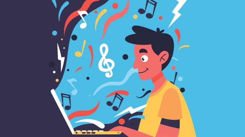 un jeune homme regarde un concert en ligne