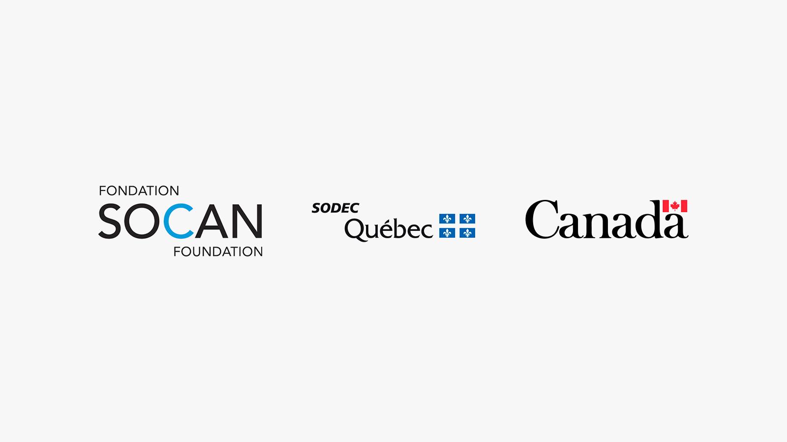 logos de la Fondation SOCAN, de la SODEC et di gouvernement du Canada